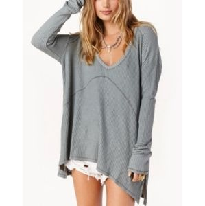 Free People oversized v-neck waffle grey tunic